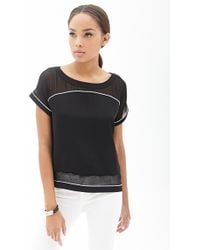 Forever 21 Chiffonpaneled Colorblock Top - Lyst