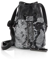 Halston Heritage Mini Metallic Python-Embossed Chain Bucket Bag - Lyst