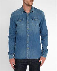 Scotch And Soda Western-style Press-stud Denim Shirt blue - Lyst