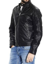 Diesel Down Jacket Jacket Monike Motor Leather - Lyst