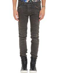 Balmain Distressed Moto Jeans - Lyst