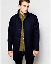 Produkt - Funnel Neck Wool Overcoat - Lyst