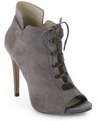Pour La Victoire Vione Peep-toe Suede Ankle Boots - Lyst