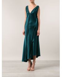 Lanvin Green Draped Dress - Lyst