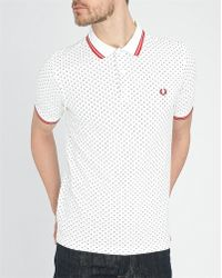 Fred Perry White Polo Shirt With Dots And Red Stripe white - Lyst