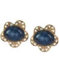 Betsey Johnson Goldtone Blue Oval Bead and Crystal Flower Stud Earrings - Lyst