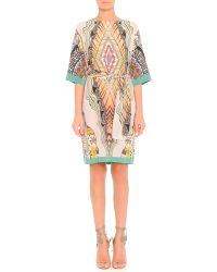 Etro Feather-Print Silk Dress With Belt - Lyst