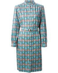 A.P.C. Geometric-Print Shirt Dress - Lyst
