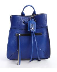 Olivia Harris Blueberry Leather Small Backpack blue - Lyst