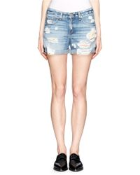 Rag & Bone The Boyfriend Distressed Denim Shorts - Lyst