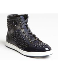 Jimmy Choo Navy Leather Crystal Studded Hi-Top Sneakers - Lyst
