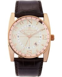 Tateossian - Crocembossedstrap Rose Golden Circle Watch Brown Mens - Lyst