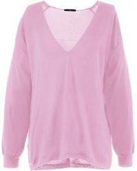 Tibi | Featherweight Cashmere Pullover In Candy Pink | Lyst