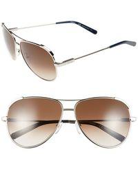 Chloé - 'nerine' 60mm Aviator Sunglasses - Light Gold/ Blue - Lyst