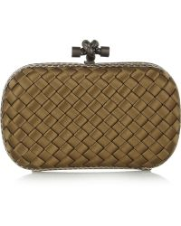 Bottega Veneta The Knot Ayerstrimmed Intrecciato Satin Clutch - Lyst