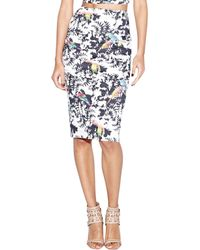 Nicole Miller Artelier Bird-Print Pencil Skirt - Lyst