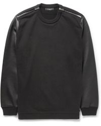 Givenchy Leathersleeved Cotton Sweater - Lyst