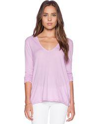 James Perse Soft V Long Sleeve Tee purple - Lyst