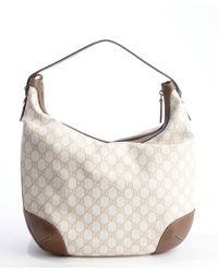Gucci Mystic White and Brown Gg Canvas Hobo Bag - Lyst