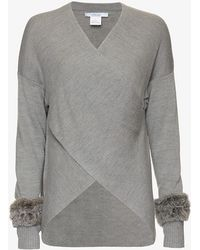 10 Crosby Derek Lam   Exclusive Fur Cuff Cross Front Sweater   Lyst
