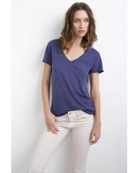 Velvet By Graham & Spencer Lilith Cotton Slub V-Neck Tee - Lyst