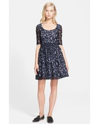 Carven Scoop Neck Lace & Vichy Dress - Lyst
