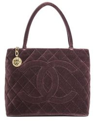 Chanel Preowned Burgundy Velvet Medallion Bag - Lyst