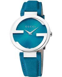 Gucci Ladies Interlocking Silvertone Teal Watch - Lyst