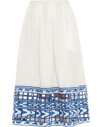 Sea Embroidered Cotton Skirt - Lyst