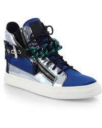 Giuseppe Zanotti Metallic Leather & Satin Chain High-Top Sneakers - Lyst
