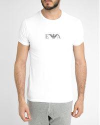 Emporio Armani 2-Pack Of White Round-Neck Logo T-Shirts - Lyst