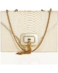 Marchesa Casati Python Tassel Shoulder Bag white - Lyst