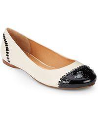 Jack Rogers Delfino Cap-Toe Leather Ballet Flats - Lyst