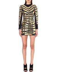 Balmain Woven Metallic Leather Dress Marineor - Lyst