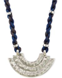 Lucky Brand Silver-Tone Blue Cord Pendant Necklace - Lyst