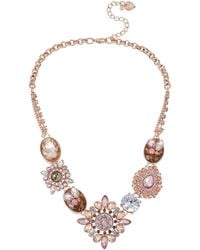 Betsey Johnson Mixed Pink Bead Frontal Necklace - Lyst