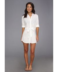 Tommy Bahama Crinkle Cotton Boyfriend Tie Shirt W Convertible Sleeves - Lyst