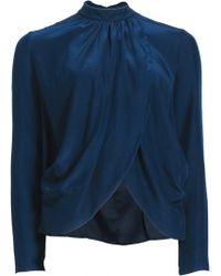 Matthew Williamson Peacock Silk Wrap Over Blouse blue - Lyst