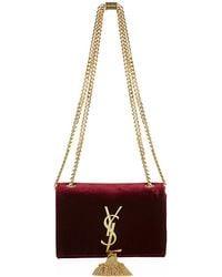 Saint Laurent Small Velvet Monogramme Tassel Satchel - Lyst