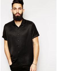 Asos Smart Shirt in Short Sleeves with Drape Fabric - Lyst
