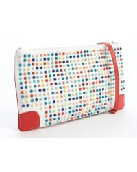 Christian Louboutin White Leather Studded Convertible Loubiposh Flat Clutch - Lyst