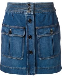 Chloé Denim Mini Skirt blue - Lyst
