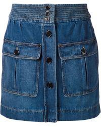 Chloé Denim Mini Skirt blue - Lyst
