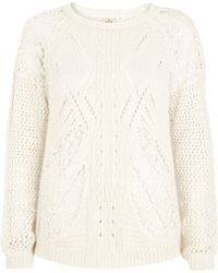 River Island Cream Lace Insert Cable Knit Jumper - Lyst