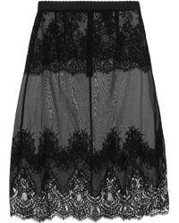 Dolce & Gabbana Lacepaneled Chiffon Slip - Lyst