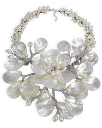 Aeravida - Colossal Floral Mother Of Pearl .925 Silver Necklace - Lyst