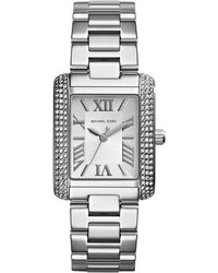 Michael Kors Mini Silver Color Stainless Steel Emery Three-hand Glitz Watch - Lyst