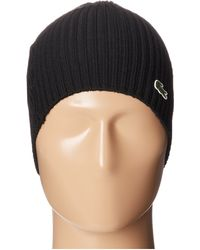 Lacoste - Green Croc Ribbed Wool Knit Beanie - Lyst 3a58a16b53