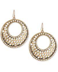 R.j. Graziano - Filigree Crystal Drop Hoop Earrings - Lyst