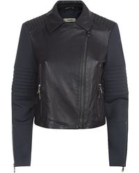 J Brand Aiah Scuba-Sleeve Leather Jacket - Lyst